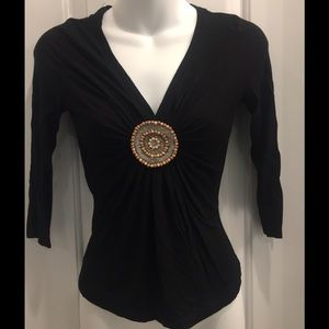 Tops - Black 3/4 V-neck top with beaded medallion - PS